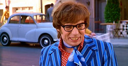 Mike Myers as Austin Powers in Austin Powers: International Man of Mystery.