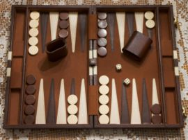 Close-up of a modern backgammon set