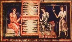 Medieval tabula players, from the 13th century Carmina Burana