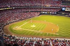 A view of the playing field at Busch Stadium II in St. Louis, Missouri.