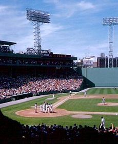 "Picture of Fenway Park. Part of the ""Green Monster"" can be seen on the right side of this picture"