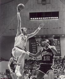 Kent Benson of Indiana University Bloomington takes a hook shot.