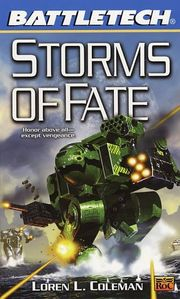 Battlemechs from cover of the book Storms of Fate by Loren L. Coleman, art by Fred Gambino.