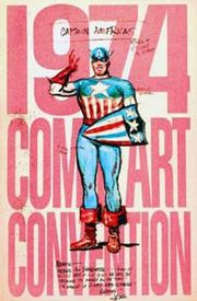 Comic Art Convention program book featuring Joe Simon's original 1940 sketch of Captain America.
