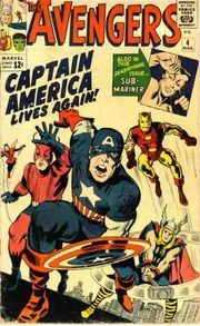 Avengers Vol. 1, #4 (March 1964), art by Jack Kirby (pencils) & George Roussos (inks).