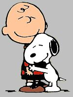 Charlie Brown and his dog Snoopy.
