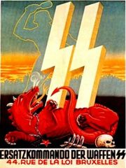 Nazi propaganda poster of a dragon being crushed by the logo of the nazi S.S.