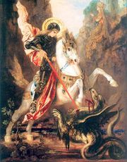 Saint George versus the dragon, Gustave Moreau, c.1880. This small one has the look of a griffin or a wyvern.