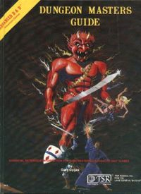 The cover, a painting by David C. Sutherland III, of the 4th printing of the Advanced Dungeons & Dragons Dungeon Masters Guide shows an efrit grasping a damsel while engaged in combat with a fighter and a magic-user.  Scenarios such as this one were common for the game during the era when the manual was released.