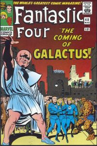 "FF #48 (March 1966): The Watcher warns, in part one of the landmark ""Galactus Trilogy"". Cover art by Kirby & Joe Sinnott."