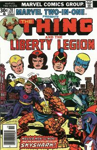 Marvel Two-In-One #20 (Oct. 1976), cover art by Kirby &  Frank Giacoia, with John Romita Sr. corrections. Golden Age heroes the Whizzer, Miss America, the Patriot and the Blue Diamond look on.