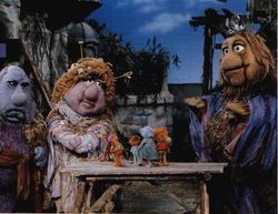 The Gorgs, from left to right: The King and Queen of the Universe and Junior. On the table in the center are several Fraggles.