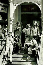 Early photo of the band at their communal home in the Haight-Ashbury district of San Francisco, late 60's.