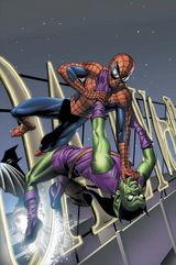 Norman Osborn is exposed as the Green Goblin.  Cover to The Pulse #5. Cover by Mike Mayhew.
