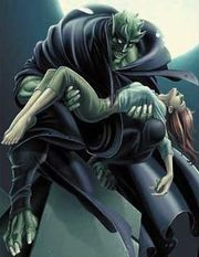 The Ultimate Green Goblin holding Mary Jane Watson. Art by Mark Bagley.