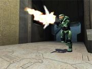 Halo's protagonist, the Master Chief, in Halo: Combat Evolved.