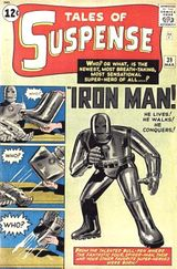 Tales of Suspense #39 (March 1963): Iron Man debuts. Cover art by Jack Kirby and Don Heck.