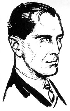 Fleming's commissioned impression of 007 used as an example to aid the Daily Express comic strip artists.