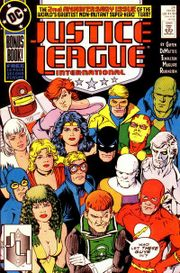The Justice League gets a larger roster as seen in Justice League International #24. Art by Kevin Maguire.