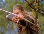 Orlando Bloom portrays Legolas in Peter Jackson's  The Lord of the Rings film trilogy.