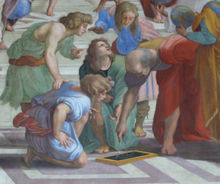 "Euclid, a famous Greek mathematician known as the father of geometry, is shown here in detail from ""The School of Athens"" by Raphael."