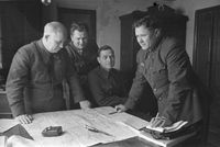 Khrushchev (left) at the military council of Stalingrad Front.