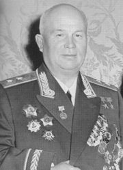 Nikita Khrushchev in his military uniform