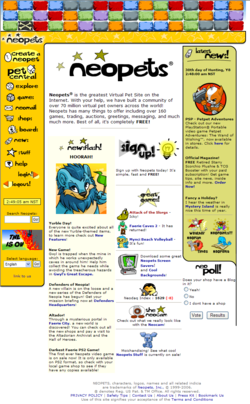Screenshot of the Neopets homepage viewed with Mozilla Firefox