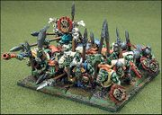 A regiment of Orcs in Warhammer Fantasy