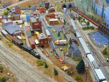 A US HO-scale model railroad