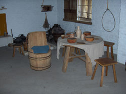 barrel chair and stools, c. 1465