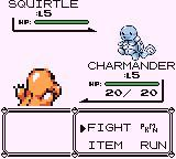 A screenshot from one of the first Pokémon games, Pokémon Red. The player's Charmander battles a Squirtle.