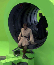 Ewan McGregor standing on an almost completely green screen set. This type of set was used frequently during the production of Revenge of the Sith.