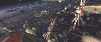 The Battle of Coruscant is depicted as a mass of cruisers belonging to both sides in the upper atmosphere of Coruscant, with two Jedi fighters moving swifty through the labyrinthine arrangement of starships.
