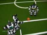 Modified Robosapiens playing the first soccer game among humanoid robots ever.