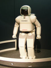 ASIMO, a humanoid robot manufactured by Honda.