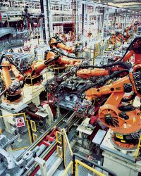 KUKA Industrial Robots assembling a vehicle underbody
