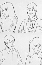 Very early designs by Iwao Takamoto for the Mysteries Five characters. Left to right, top row: Kelly (Daphne) and Geoff (Fred). Left to right, bottom row: W.W. (Shaggy) and Linda (Velma).