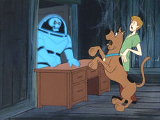 "Shaggy and Scooby-Doo register mutual fear after being confronted by a typical Scooby-Doo villain, a ghost from outer-space. From Scooby-Doo, Where are You! season one, episode fourteen (""Spooky Space Kook"", December 20, 1969)."