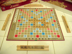 A game of Scrabble in progress