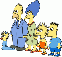 The Simpson family as they first appeared in The Tracey Ullman Show