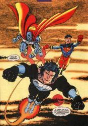 "Superman, Steel III (John Henry Irons), and Superboy from ""Reign of the Supermen"" storyline, 1993. Art by Dan Jurgens."