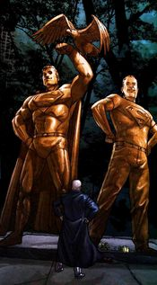 Lex Luthor stands before the Superman and Superboy memorials. From Action Comics #837 (2006). Art by Pete Woods.
