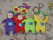 Teletubbies dolls. From left to right: Tinky Winky, Po, Dipsy and Laa-Laa.