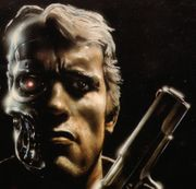 The Terminator, as depicted in a piece of early production art.