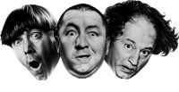 The most familiar and popular Three Stooges lineup: (L to R) Moe, Curly, and Larry. This headshot is the official logo for Stooges' merchandising company, Comedy III Productions.