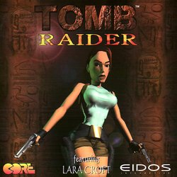 PAL cover of the PlayStation version of Tomb Raider.