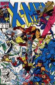The first line-up of X-Men (Volume 2). Art by Jim Lee.
