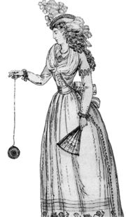 "1791 illustration of woman playing with an early version of the yo-yo, then known as a ""bandalore"""